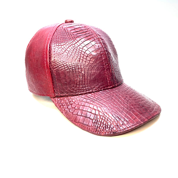 Kashani Wine Alligator & Ostrich Quill StrapBack Hat - Dudes Boutique