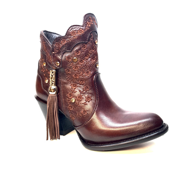 Los Altos Ladies Chocolate Floral Crystal Bovine Leather Bootie - Dudes Boutique