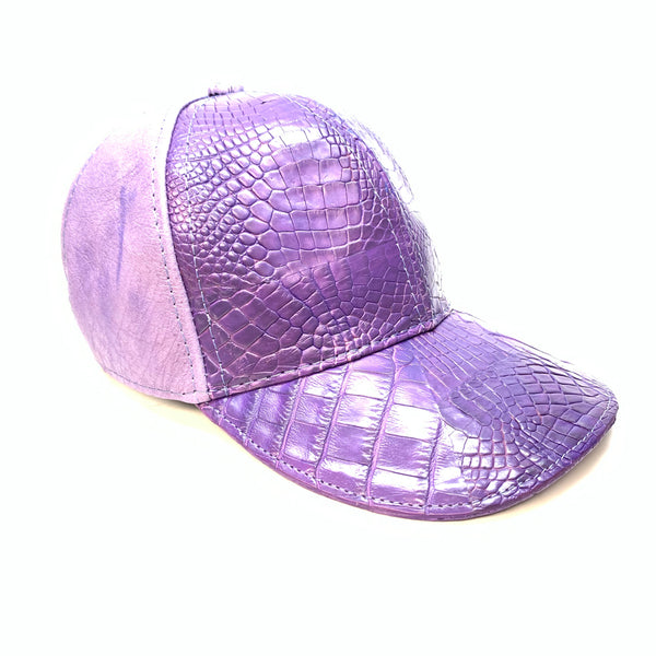 Kashani Purple Alligator & Ostrich Quill StrapBack Hat