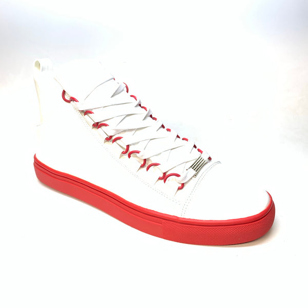 Fiesso Red White Patent Leather Hightop Sneakers - Dudes Boutique
