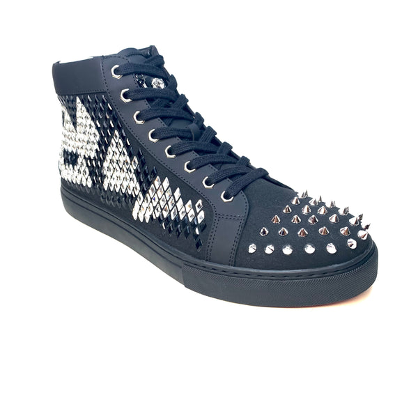 Fiesso Black Rhombus Crystal Hightop Spike Sneakers - Dudes Boutique