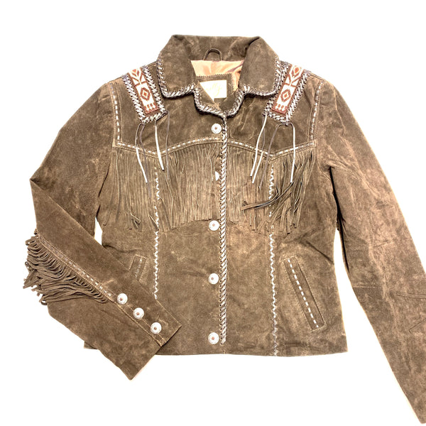 Scully Chocolate Brown Suede Hand Laced and Bead Trim Jacket