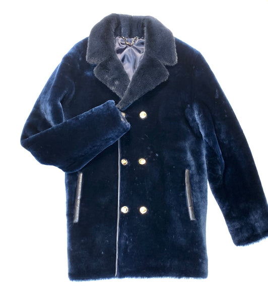 Kashani Navy Blue Mink Mouton Peacoat Shearling - Dudes Boutique