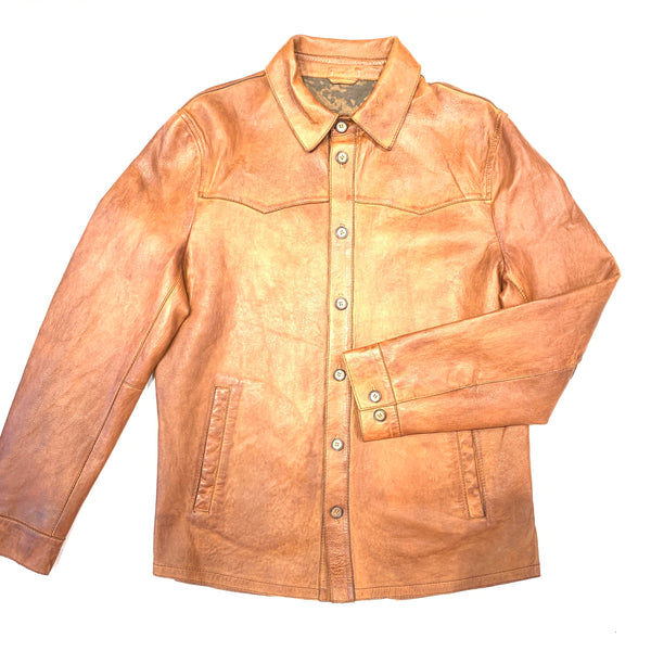 Scully Western Cognac Lambskin Leather Button Up Shirt - Dudes Boutique