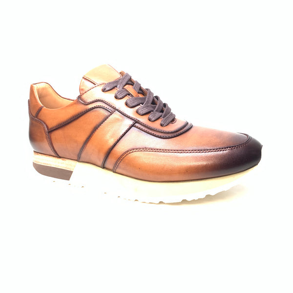 Sigotto Men's Brown Leather Sneakers - Dudes Boutique