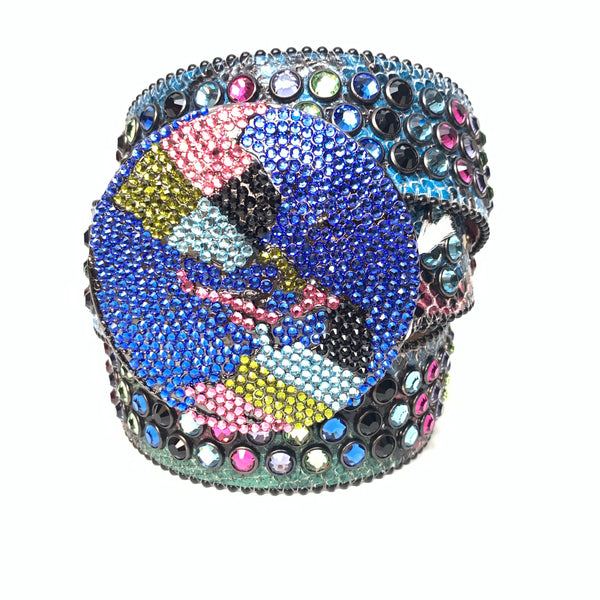 b.b. Simon Globe Triple Row Multi-color Fully Loaded Swarovski Crystal Belt