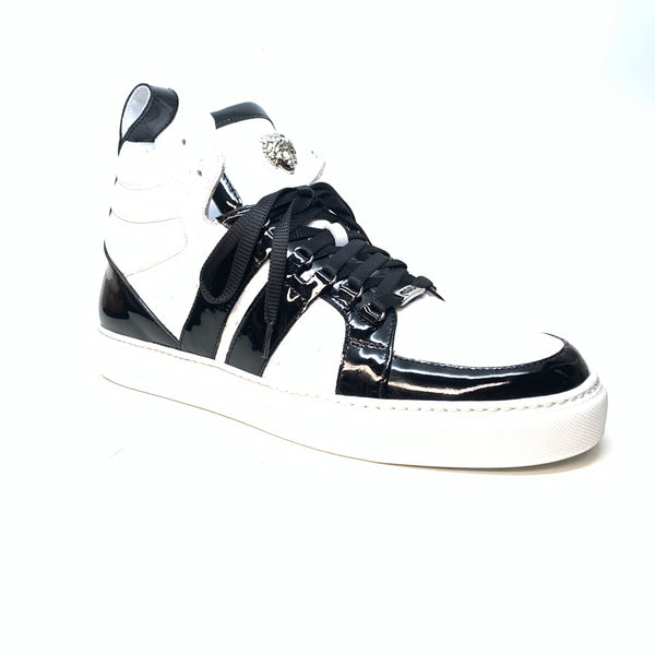 Mauri 8410 Black White Patent Alligator Sneakers - Dudes Boutique