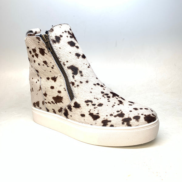 Alcala's White Brown Pony Hair Wedge Sneakers - Dudes Boutique