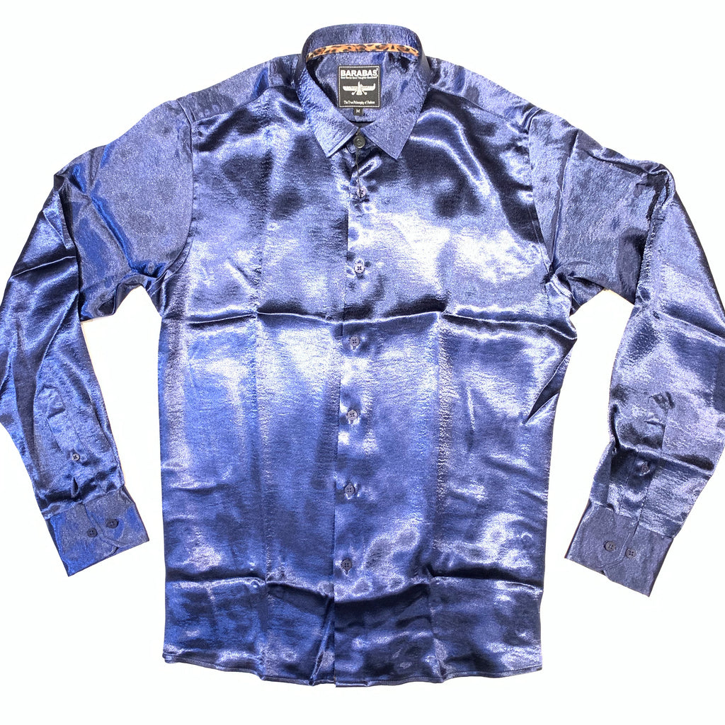 Barabas Men's Blue Shine Button Up Shirt