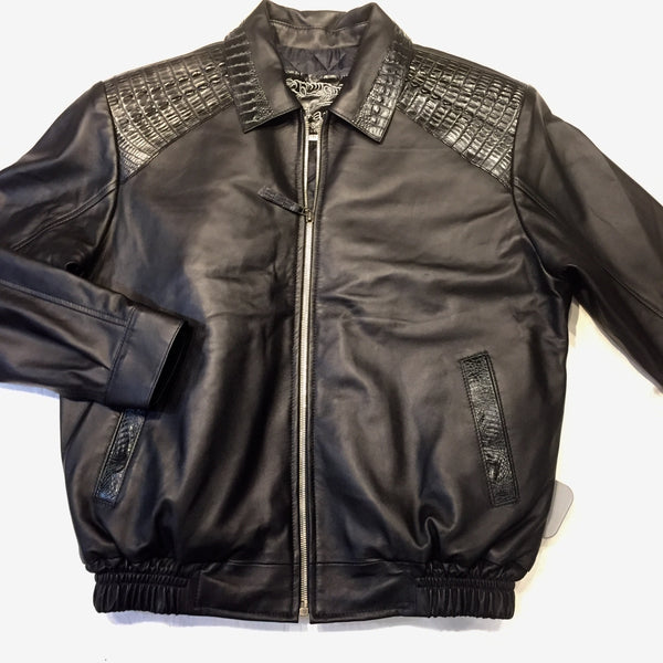 Kashani Jet Black Alligator Full Lambskin Bomber Jacket