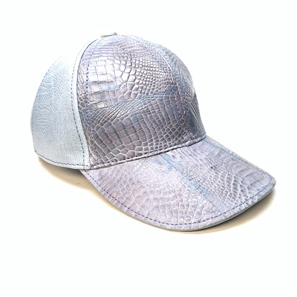 Kashani Washed Blue Alligator & Ostrich Quill StrapBack Hat