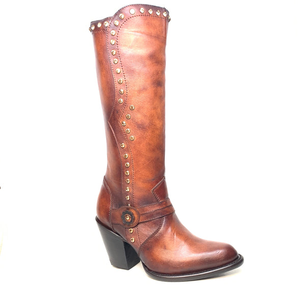 Los Altos Ladies Chocolate Crystal Bovine Leather Knee Boot