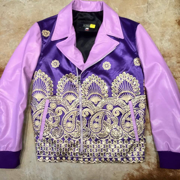 Jakewood Royal Sequin Taj Mahal Lamb Biker Jacket - Dudes Boutique