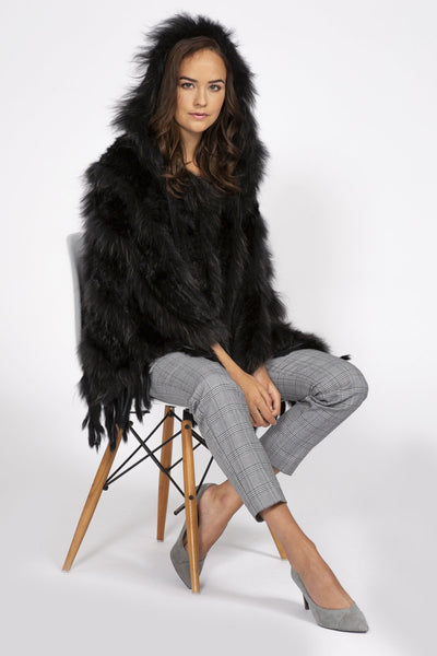 Jayley Black Fox & Coney Fur Hooded Poncho - Dudes Boutique