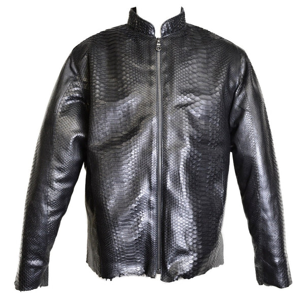Dark 8 Fabric Finished Python Skin Biker Jacket - Dudes Boutique
