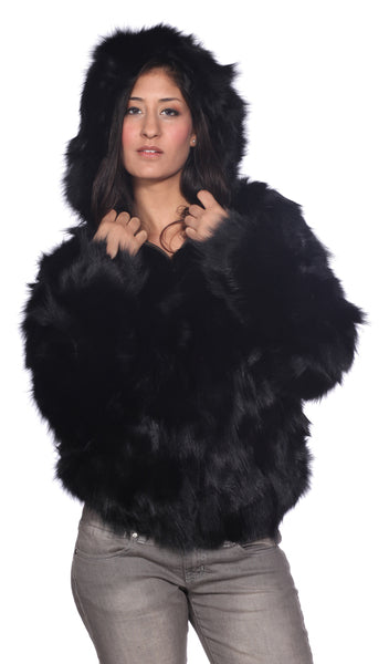 Wilda Leather Lyla Black Fox Fur Coat