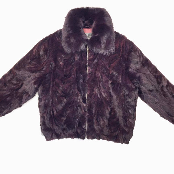 Winter Fur Men's Wine Mink Fur Bomber Coat