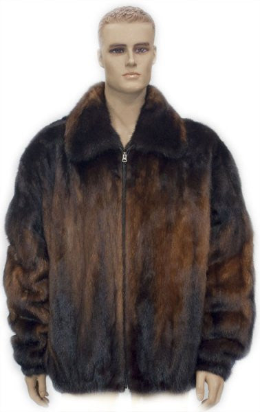 Winter Fur - M59R01WKT Whiskey Mink Jacket with Fox Collar - Dudes Boutique