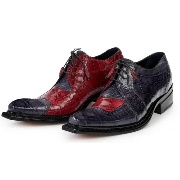 Mauri ''44268'' Medium Grey / Bordeaux Genuine Body Alligator Hand painted Dress Shoe