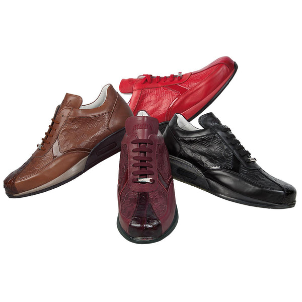 "Mauri ""Cherry"" M770 Genuine Baby Crocodile / Nappa / Patent Leather Sneakers - Dudes Boutique"