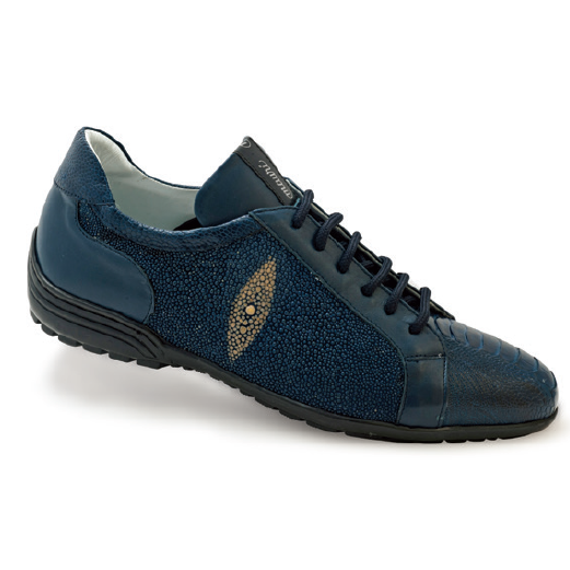 "Mauri ""8527"" Deep Blue Stingray/ Ostrich Leg Sneaker - Dudes Boutique"