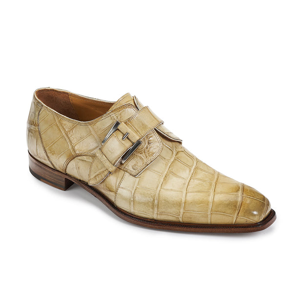 Mauri 4853 Agogna Bone Alligator Body Monk Strap Dress Shoes