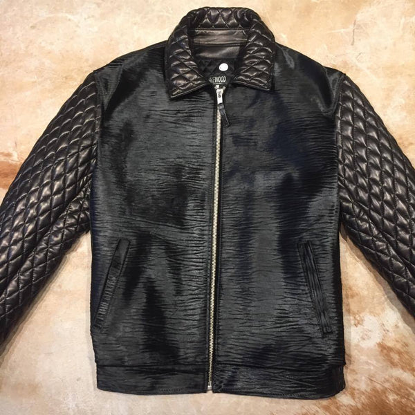 Midnight Black Quilted Full Pony Bomber Jacket