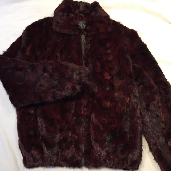 Winter Fur Women's Burgundy Mink Fur Jacket