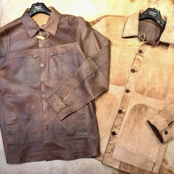 Missani Brown Reversible Calf Skin Jacket