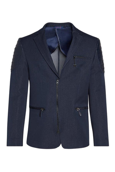 RNT23 NAVY MOTO CROSS SHOULDER SPORTS COAT - Dudes Boutique