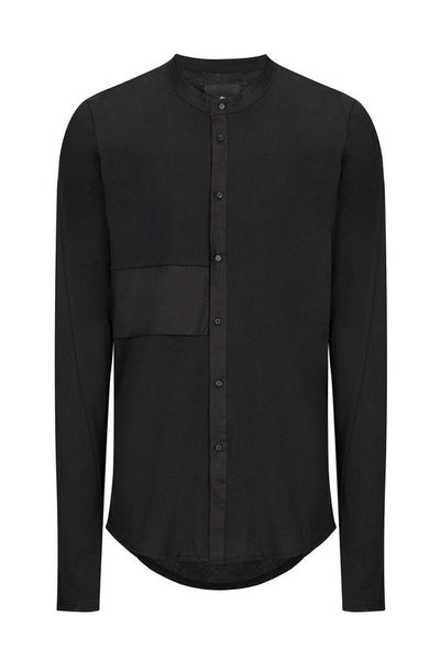 RNT23 BLACK PANELED GRANDAD COLLAR SHIRT - Dudes Boutique