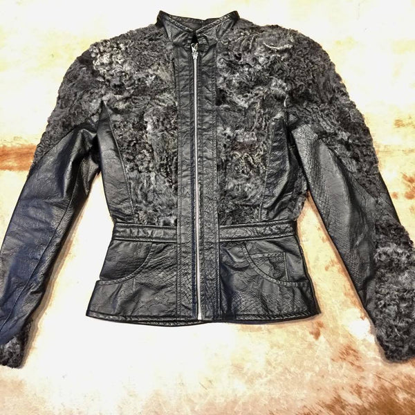 Ladies Persian Lamb Shearling Python Embossed Jacket