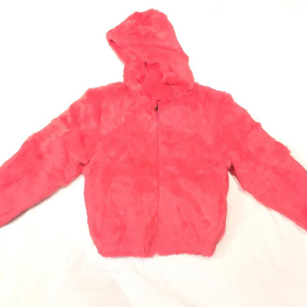 Winter Fur Women's Pink Rabbit Fur Coat