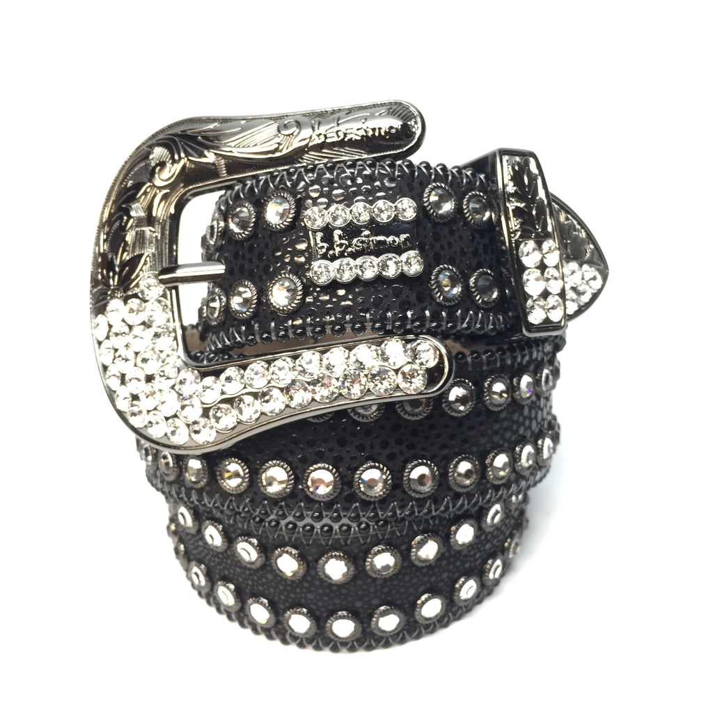 B.B. Simon 2298F40 'Midnight' Swarovski Crystal Belt - Dudes Boutique