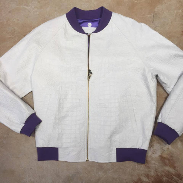 Jakewood White Gator Bomber Jacket - Dudes Boutique
