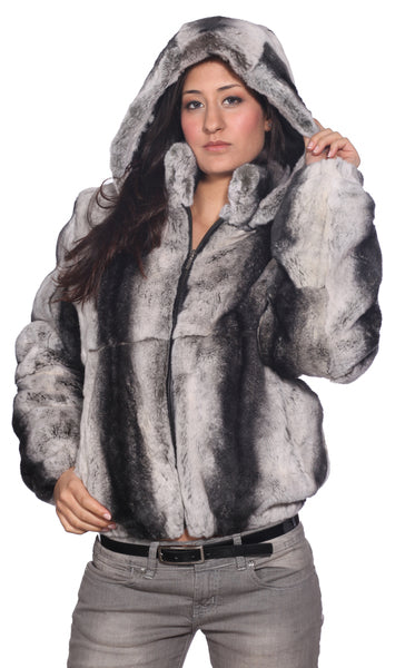 Wilda Leather Jules Grey Rex Rabbit Fur Bomber Jacket