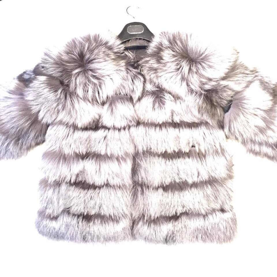 Winter Fur Women's Full Silver Fox Fur Coat - Dudes Boutique