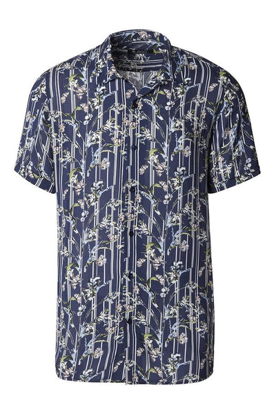 RNT23 NAVY FLORAL VISCOSE SHORT SLEEVE SHIRT - Dudes Boutique