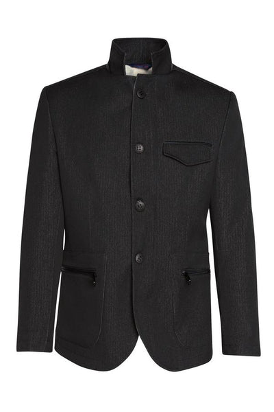RNT23 BLACK STAND COLLAR SPORTS COAT - Dudes Boutique