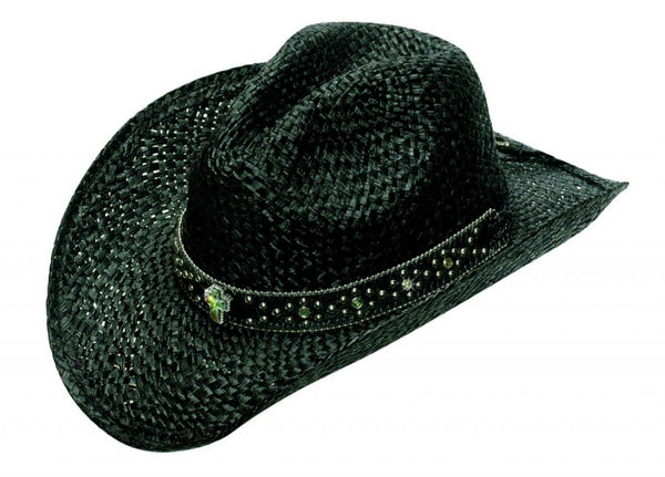 Kashani Straw Black Crystal Cross Cowboy Hat