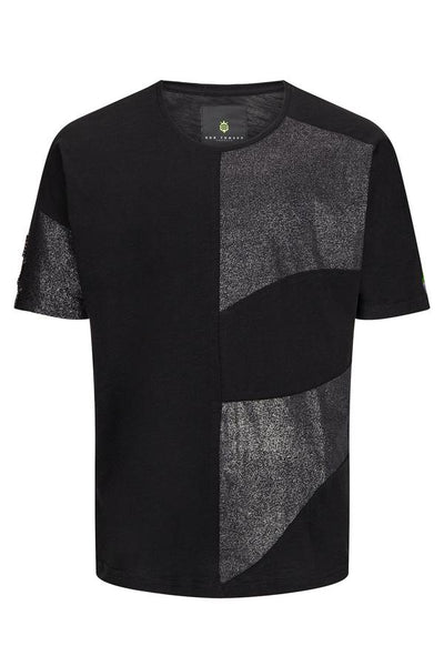 RNT23 BLACK ROUND NECK ABSTRACT T-SHIRT - Dudes Boutique