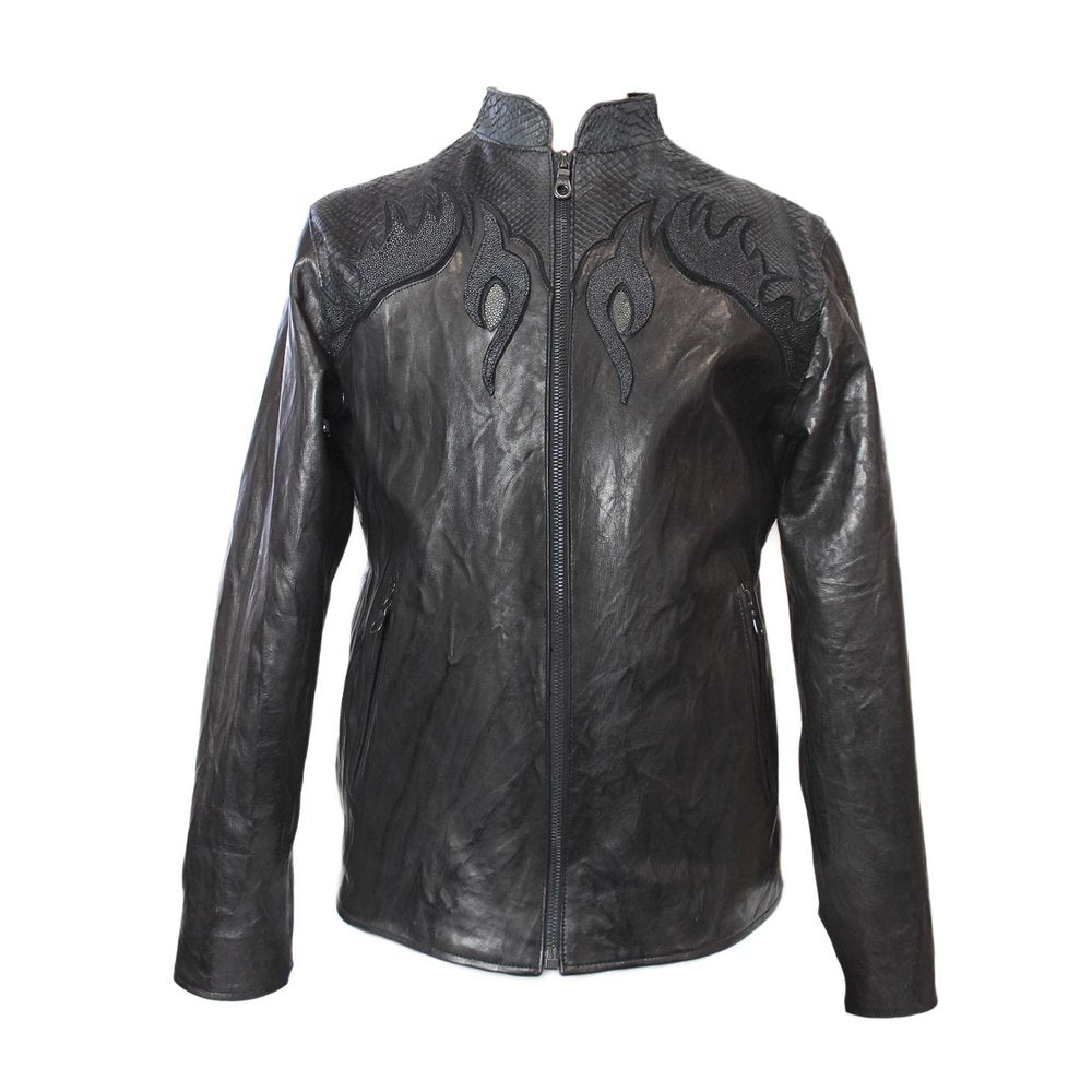 Dark 8 Moltres Mandarin Collar Stingray/Cobra/Calf Leather Biker Jacket - Dudes Boutique