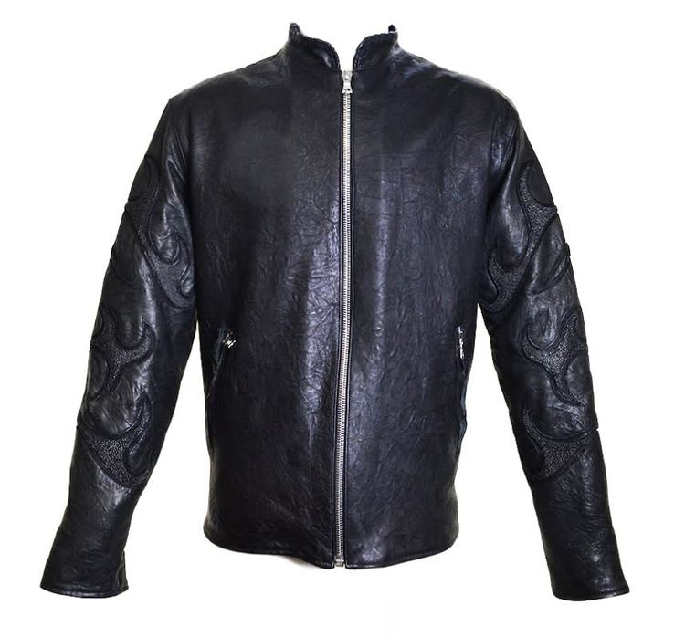 Dark 8 Lost Angel Mandarin Collar Stingray/Calf Leather Biker Jacket - Dudes Boutique