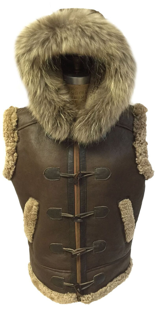 Jakewood - 5600 Shearling Vest With Fox Collar - Dudes Boutique