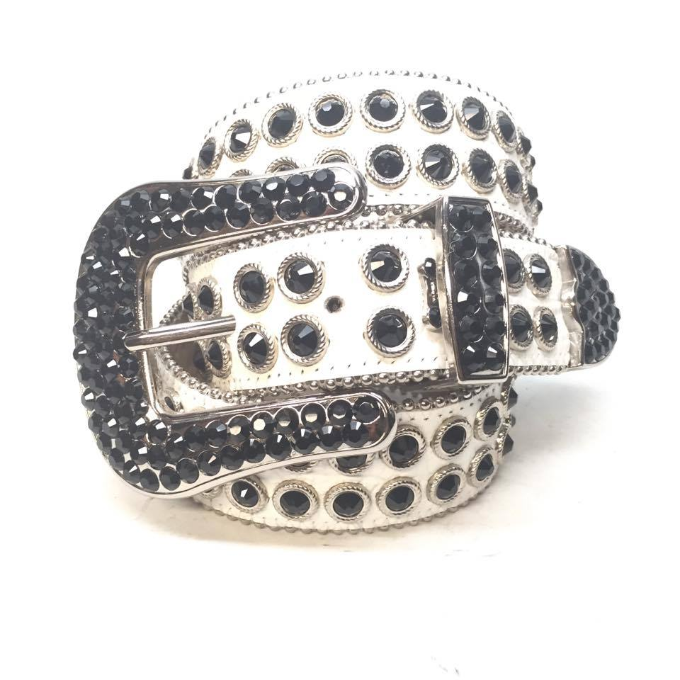 B.B. Simon Fully loaded 'Monochrome' Swarovski Crystal Belt - Dudes Boutique