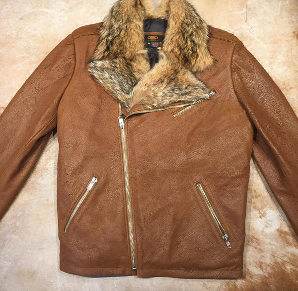 Whiskey Coyote Rough Suede Moto Biker Jacket