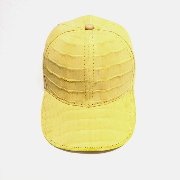 All-Over Canary Yellow Handmade Crocodile & Ostrich Quill Strapback Hat - Dudes Boutique