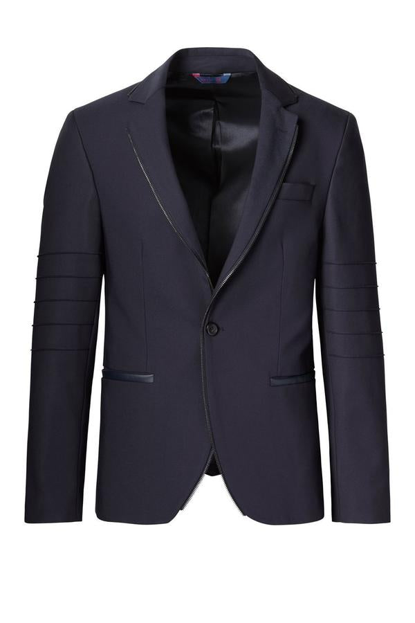 RNT23 NAVY ZIPPER PIPING FITTED SPORTS COAT - Dudes Boutique