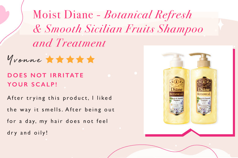 Moist Diane Botanical Refresh & Smooth Sicilian Fruits Shampoo and Treatment gently removes impurities and sebum build-up on the scalp, repairs and reverses sun-damaged hair.
