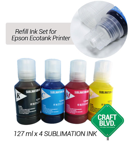 Sublimation Ink Set T502/T522 Compatible for Epson EcoTank Printers  ET-15000, ET-2760, ET-3710, ET-3760, ET-4760, ET-2700, ET-2750, ET-2720 (127ml each bottle / 1 Cyan, 1 Magenta, 1 Yellow, 1 Black)